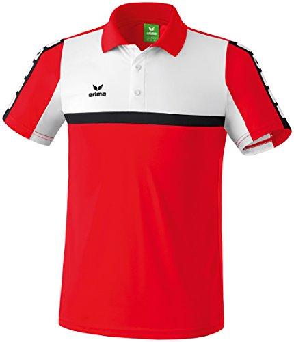 Erima Herren Classic 5-C Poloshirt, rot/weiß/schwarz, L