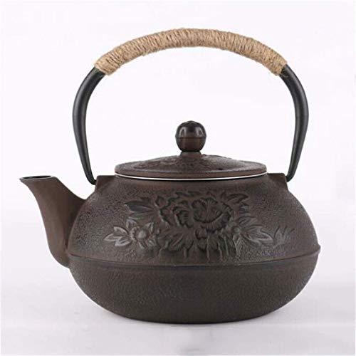 Tetera de Hierro Fundido, té de Hierro Fundido, hervidor de té Resistente al Calor, pequeño infusor de té de Hierro Fundido Retro con Filtro y Mango de Aislamiento, para Fiestas de Oficina en casa, 0