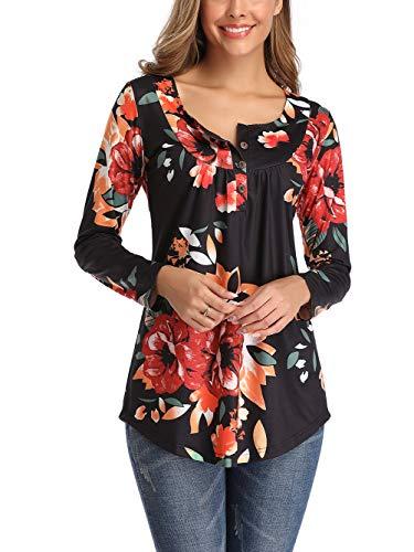 Famulily Débardeurs d'été sans manches, tuniques plissées et amples pour femmes - 002 - Manches longues - Noir, size: XX-Large