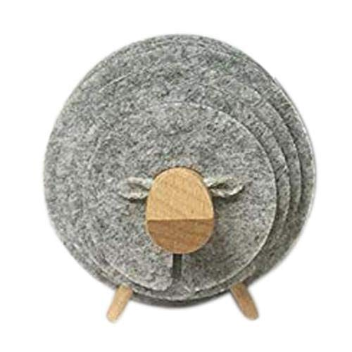 xunlei Dessous de Verre Moutons Forme Anti Slip Cup Pads Coasters Insulated Round Felt Cup Mats Japan Style Creative Home Office Decor Art Crafts Gift,Lig