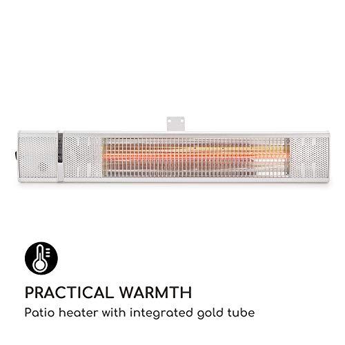 blumfeldt Gold Bar 2000 • Infrarot-Heizstrahler • Wand-Heizstrahler • max. 2000 Watt Leistung • regulierbar in 3 Stufen • einfache Installation • Gold-Infrarotröhre • Fernbedienung • silber - 8