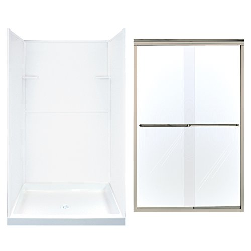 Find Discount Transolid KS48-N01 48″ Shower Kit with Wall Surround, Base, Door, White