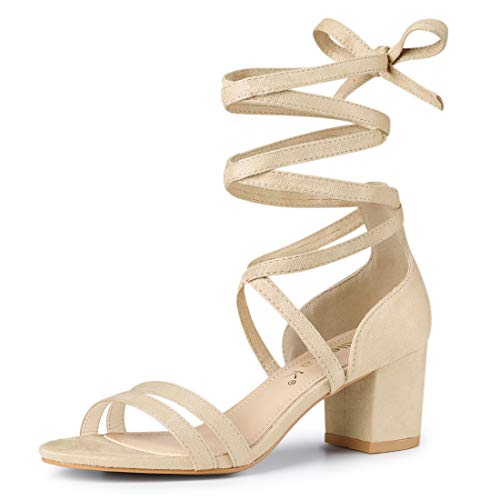 Allegra K Damen Peep Toe Lace Up Colorblock High Heels Sandalen Beige 41