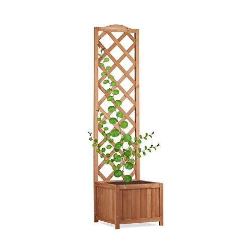 Relaxdays Rankkasten Holz, Garten Pflanzkübel m. Rankgitter, 25 L Pflanzkasten, 150 cm Rankhilfe wetterfest, natur