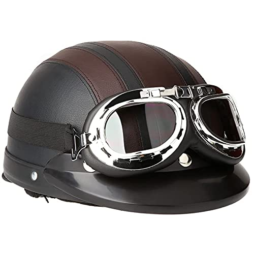 Medio Casco De Motocicleta, Con Visera De ProteccióN Gafas De Sol Estilo Vintage Casco De Cuero Para Adultos Motocicleta Bicicleta Cruiser Chopper Casco De Atv Aprobado Por Puntos Universal Un