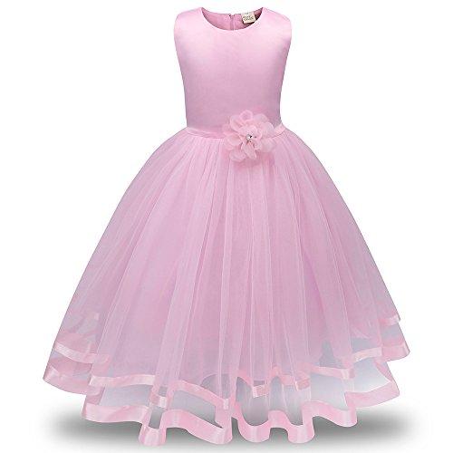 Honestyi BabyBekleidung Blumenmädchen Prinzessin Brautjungfer Pageant Tutu Tüll Kleid Party Hochzeitskleid (120,Rosa)