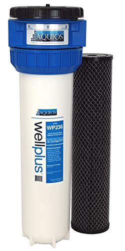 Aquios WellPlus Jumbo Salt Free Water Softener & Filter System - Prevents Calcium Scale & Iron - Removes Sediment, Rust, Dirt - High Flow Rate - Built In By-Pass & Shut Off Valve