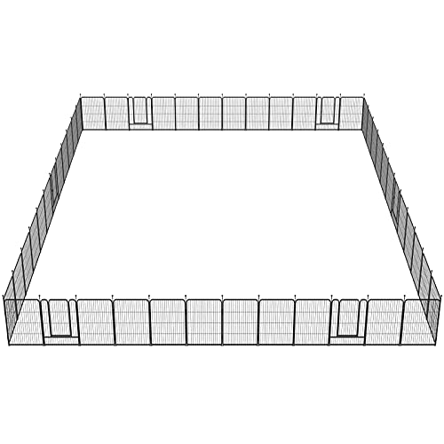 FXW Dog Fence Outdoor, 48 Panels RV Dog Fence Pens Playpen Outdoor Exercise Protect Design Poles for Medium/Small Dogs, Pet Puppy Playpen for Camping, RV, Yard, Garden Oudoor and Indoor