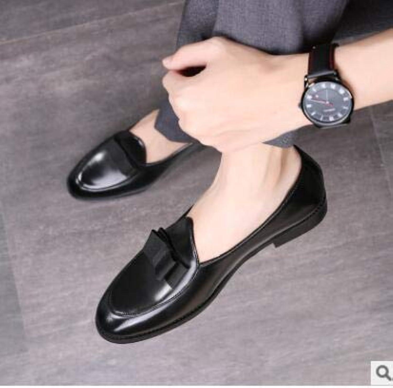 LOVDRAM MAN'S läder skor Lyxry Pu läder läder läder Loafers Män S Slip Slippers Bowknop Bröllop Dress Män Flats Gentlens Party Casual skor  låg 40% pris