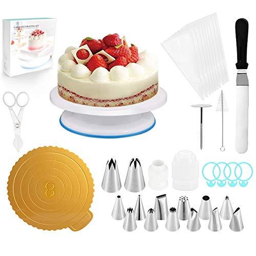 DOLYUU Teiliges Spritztüllen Set - 48 Edelstahldüsen + 3* Silikon-Spritzbeutel + 3* Koppler, BackzubehörTorten Dekoration Set für Cupcakes