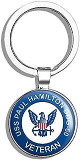 HJ Media US Navy USS Paul Hamilton DDG-60 Veteran Military Veteran USA Pride Served Metal Round Metal Key Chain Keychain Ring