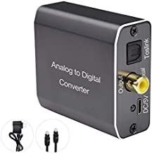 Analog to Digital Audio Converter, Tohilkel Audio Adapter for 3.5mm Jack or Stereo R/L to Toslink(Optical/SPDIF) and Coaxi...