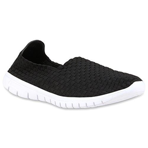 stiefelparadies Damen Slip-ons Glitzer Sneakers Helle Sohle Slipper Metallic Schuhe 112860 Schwarz 38 Flandell