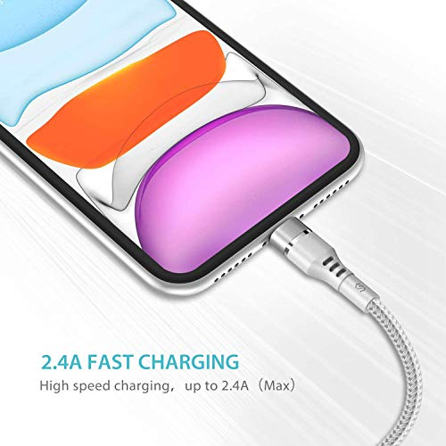 Syncwire iPhone Ladekabel 2M Ladekabel iPhone [MFi Zertifiziert] Lightning Kabel für iPhone SE 2020/11 Pro Max/11 Pro/11/XS Max/XS/XR/X/8/8 Plus/7/7 Plus/6S/6S Plus/6/6 Plus/SE/5, iPad - Silber Weiß