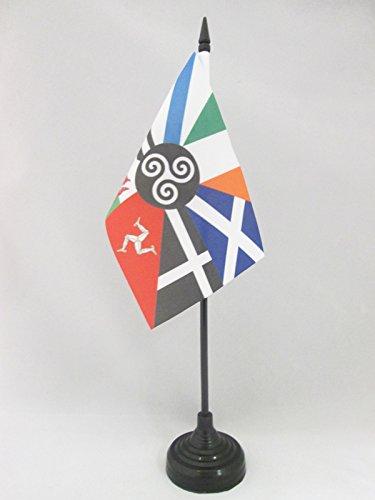 AZ FLAG Multi Celtic Table Flag 4'' x 6'' - Celtic Countries Desk Flag 15 x 10 cm - Black Plastic Stick and Base