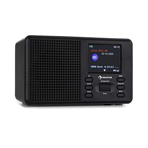 AUNA Commuter - Radio Digitale DAB+/FM, Bluetooth, Display a Colori TFT: 2.4', Preset Equalizer, DualAlarm, SleepTimer, Robusto Alloggiamento di Plastica, Portatile, 17 x 9,8 x 6 cm, Nero