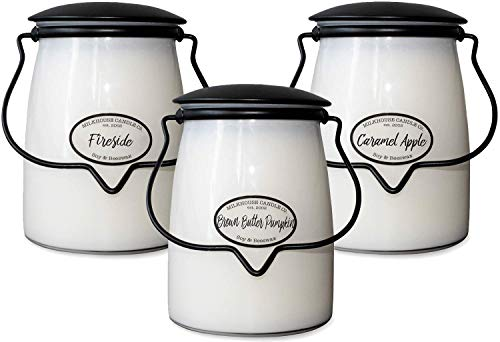 Milkhouse Candle Company Fall 3-Pack Butter Jar Candles   Brown Butter Pumpkin, Fireside, Caramel Apple   22oz Glass Jar Scented Candles for The Home   Hostess Gift   Soy Candles
