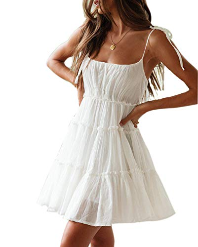 Mingriya Women's Chiffon Spaghetti Boho Dresses Chic Swing Casual Shift Dress (White, Large)
