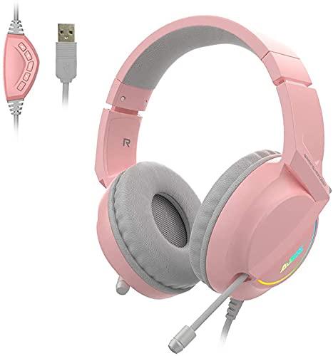 Juplay Auriculares USB para videojuegos, sonido envolvente 7.1, auriculares con orejeras cómodas, luz LED, micrófono para reducción de ruido, para PC, portátil, ordenador (rosa)