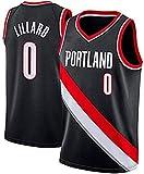 Portland Damian Lillard # 0 Jersey Juvenil, Trail Blazers, Nuevo Tejido Bordado, Estilo Deportivo Jersey de Baloncesto para Hombres (Negro, L)