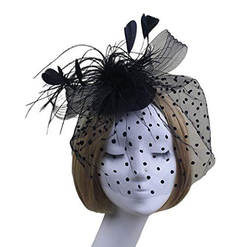 CARRYKT Femmes Filet Fleur Plume Fascinator Chapeau Partie Mesh Voile Visage Couverture Cheveux Clip
