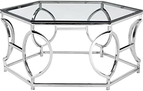 Pangea Home Arthur Metal Coffee Table Glass Steel with Outlet sale feature Silver in Max 59% OFF