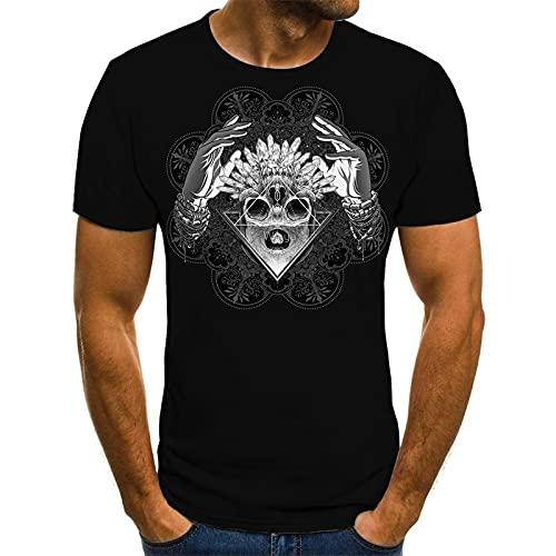 EMPERSTAR Disfraz de Esqueleto de Halloween con Calavera, Camiseta Negra para niños XXL