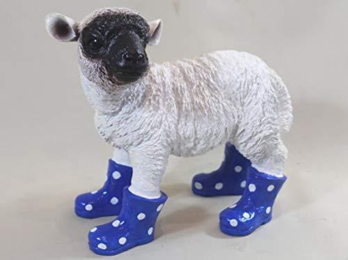 Vamundo Lustiges Deko Lamm Schaf, stehend mit Gummistiefel blau - wetterfest für Innen und Außen