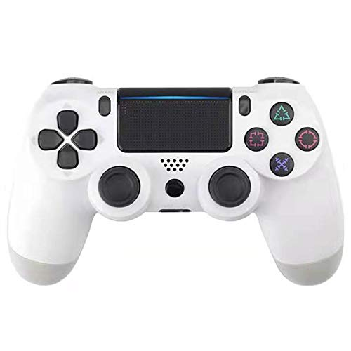 ERGGQAQ Gamepad Inalámbrico Bluetooth, Controlador PS4, con Barra luz LED y Panel Táctil, para Playstation 4 Pro/PC/Teléfono Celular/Tableta/Switch/Joystick Juego DualShock 4,Blanco