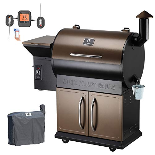 Z Grills ZPG-700DPro Wood Pellet Grill Smoker with 2021 Newest Digital Auto Temperature Controls,697 sq in Cooking Area 8- in-1BBQ Grill,with Bluetooth Wireless Meat Thermometer (Brown with Cabinet)
