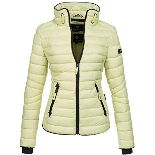 Marikoo Damen Jacke Steppjacke Übergangsjacke gesteppt mit Kordeln Frühjahr Camouflage B405 [B405-Lola-Grün-Gr.XS]