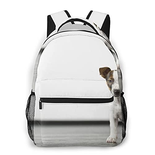 Nongmei Mochila de viaje para computadora portátil,bebé San Bernardo perro mascota piso de madera ama la vida feliz,mochila antirrobo resistente al agua para negocios,delgada y duradera
