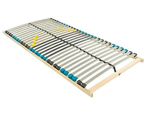 BMM Lattenrost Standard NV 7 Zonen mit 28 Federholzleisten, geräuschlose Duo HQ-Kappen, holmübergreifende Latten, ohne Verstellung, 90x200 cm
