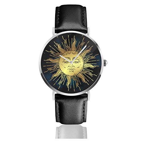 Boho Sun Stock Illustrations Black Quartz Movement Stainless Steel Leather Strap Watches Casual Fashion Wrist Watches