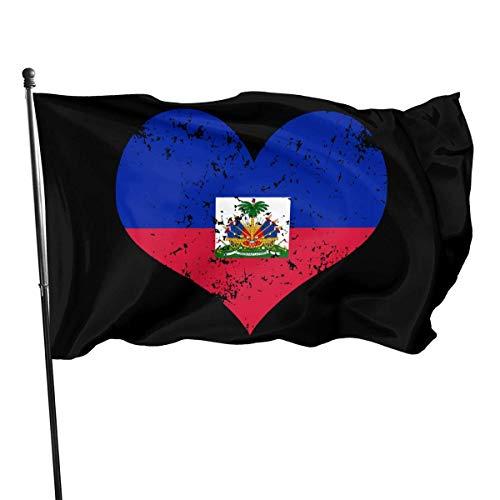 Zudrold Outdoor-Flaggen Haiti Herz Flagge Flagge für Sportfan Fußball Basketball Baseball Hockey