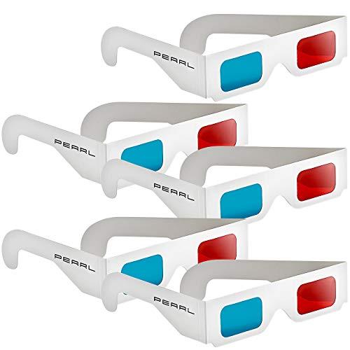 PEARL 3D Brille rot blau: 3D-Brillen rot/Cyan im praktischen 5er-Spar-Paket (3Dbrille)