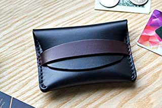 Horween Flap Wallet in black Horse Chromexcel leather. Small purse, cash and card holder with Burgundy strap
