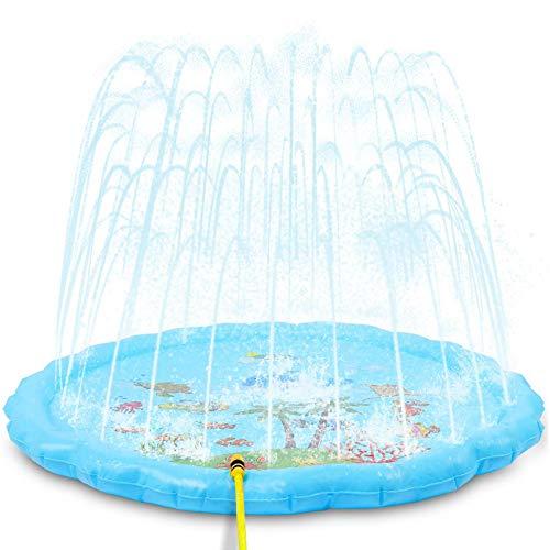 NextX Splash Pad zraszacz 175 cm, 68 zraszacz wodny mata/lato ogrodowa zabawka wodna, na zewnątrz, na basen, na imprezę, wzór morski, dla dzieci, na imprezę rodzinną (niebieski)