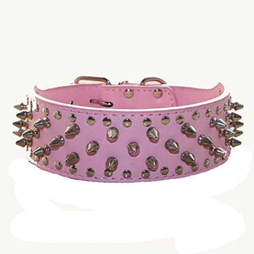 haoyueer Collar de piel sintética con tachuelas para perros medianos y grandes Pit Bull Mastín Bully Boxer (M, rosa)