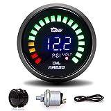 2' 52MM Colorful LED Digital Voltmeter Voltage Oil Press Pressure PSI Gauge Fit for Boat Car AUTO Motor Vehicle Automotive