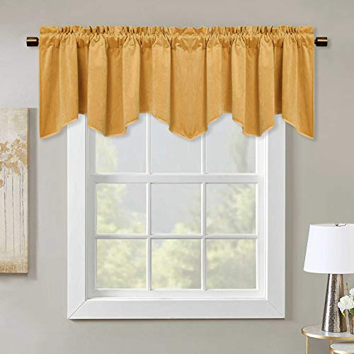 Warm Gold Velvet Window Curtain Valance - Home Fashion Rod Pocket Scalloped...