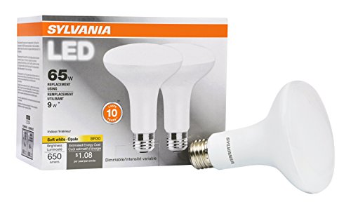 SYLVANIA Contractor Series BR30 LED Light/Value LED Bulb dimmable/Replacement for 65W Incandsecents/Medium base E26 / 9 Watt / 2700K – soft white, 2 Pack