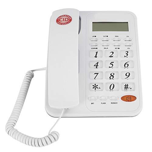 Teléfono Fijo con Cable, Blanco, teléfono con Cable estándar con Pantalla LCD, Altavoz e identificador de Llamadas, para Colgar en la Pared y Escritorio Plano para la Oficina en casa