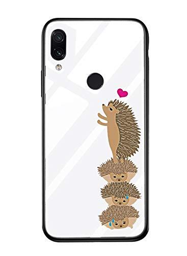 Suhctup Vidrio Templado Case Compatible con Huawei Nova 3i/P Smart Plus Funda Transparente Lindo Dibujos Cristal Templado Trasera Carcasa con Suave Silicona TPU Bumper Anti-Amarilla Cover,Erizos