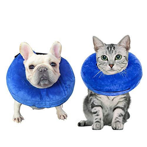 Demason Halskrause Hund Schützender Aufblasbarer Hundekragen Schutzkragen Krägen für Haustiere Einstellbar Bequem Schutzkragen mit Klettverschluss