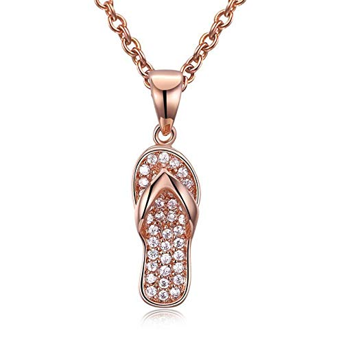 SSLL Halskette Frauen Flip Flop Anhänger Mit Weißen Zirkonia Rose Gold-Farbe Halskette Partei Schmuck