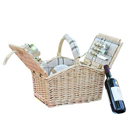GYFSLG Panier De Pique-Nique Panier De Pique-Nique en Plein Air avec Verres à Vin à Couverts, pour 4 Personnes, Pique-Nique en Plein Air équipement