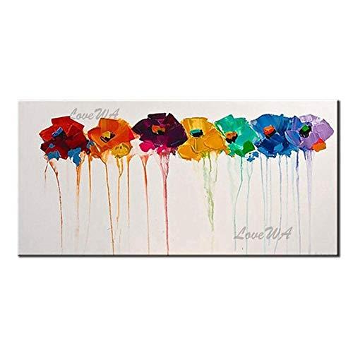 ZNYB Cuadro Lienzo Decoracion Colorido Abstracto Arte Original 100% Pinturas al óleo pintadas a Mano Cuadros de Pared Lienzo Arte de Pared Pintura al óleo decoración de la Pared del hogar