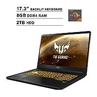 ASUS TUF 17.3-Inch FHD 1080P Gaming Laptop, 4-Core AMD Ryzen 7 3750H up to 4.0 GHz, NVIDIA GTX 1650 4GB, 8GB DDR4 RAM, 2TB HDD, HDMI, WiFi, Bluetooth, Backlit KB, Windows 10