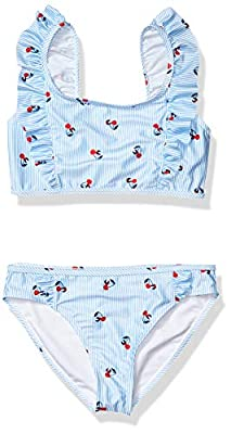 Tommy Hilfiger Kids Girls Two-Piece Swimsuit, Cherry Ithaca Light Azure Blue, M8/10